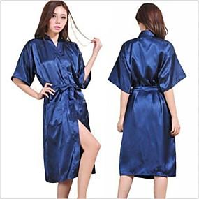 preiswerte Bademäntel-m Dame Seidensatin-Pyjama-Wäsche Sleepwear-Kimonokleid Nachthemd langes Gewand