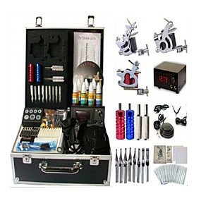 cheap Professional Tattoo Kits-BaseKey Professional Tattoo Kit Tattoo Machine - 3 pcs Tattoo Machines LCD power supply 3 steel machine liner & shader / Case Included