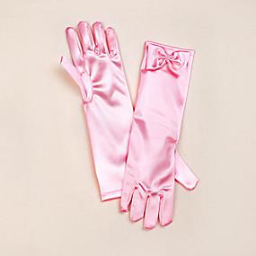 preiswerte Hochzeitshandschuhe-Satin Opernlänge Handschuh Blumenmädchen Handschuhe Mit Schleife