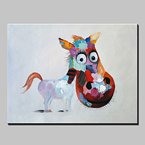preiswerte Pop Art Ölgemälde-Hang-Ölgemälde Handgemalte - Pop - Art Modern Fügen Innenrahmen / Gestreckte Leinwand