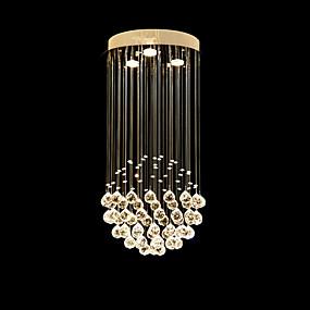 cheap Ceiling Lights & Fans-3-Light 30cm(11.81 Inch) Crystal / LED Pendant Light Metal Electroplated Modern Contemporary 110-120V / 220-240V / GU10