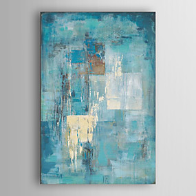 cheap Abstract Paintings-Oil Painting Paint Handmade Abstract Canvas Art Minimalist Turquoise Blue Modern Art With Stretched Frame