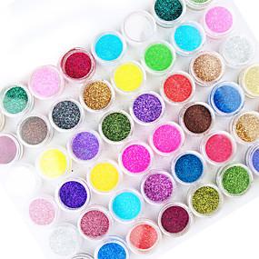 cheap Nail Glitter-45 45pcs Glitter Powder Glitters Abstract Half Nail Tips Glitter Powder Nail Art Kit for