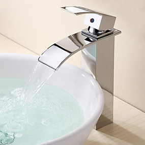 cheap Bathroom Sink Faucets-Bathroom Sink Faucet - Waterfall Chrome Vessel One Hole / Single Handle One HoleBath Taps