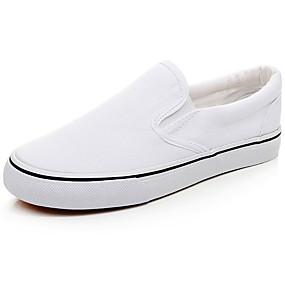 levne Větší obuv-Pánské Plátno Jaro / Léto Pohodlné Nokasíny Bílá