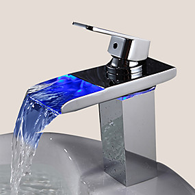 cheap Bathroom-1279 Sprinkle® Sink Faucets - Contemporary Chrome LED One Hole