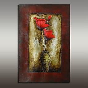 povoljno Slike za cvjetnim/biljnim motivima-Hang oslikana uljanim bojama Ručno oslikana - Mrtva priroda Moderna With Frame