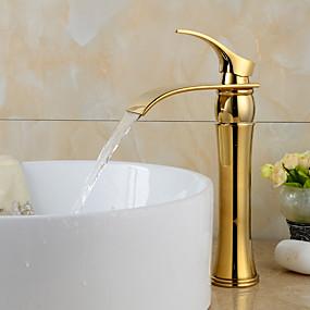 preiswerte Armaturen für Waschbecken-Waschbecken Wasserhahn - Wasserfall Ti-PVD 3-Loch-Armatur Ein Loch / Einhand Ein LochBath Taps