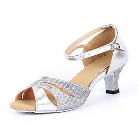 cheap 11-11 Sale-Women's Dance Shoes Sparkling Glitter Latin Shoes / Salsa Shoes Buckle Sandal Chunky Heel Non Customizable Silver / Blue / Gold / Suede / EU42