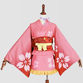 preiswerte Anime PLA-Inspiriert von Cosplay Cosplay Anime Cosplay Kostüme Japanisch Cosplay Kostüme / Kimonoo Druck Krawatte / Yukata / Kopfbedeckung Für Damen