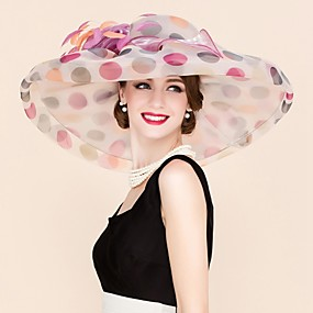 cheap Melbourne Cup Carnival Hats-Organza Kentucky Derby Hat / Fascinators / Hats with Flower 1pc Wedding / Special Occasion / Casual Headpiece