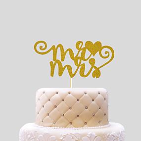 povoljno Darovi i pokloni za zabave-Figure za torte Plaža Teme Klasični Tema Hearts Kartica papira Vjenčanje s Mašnica 1 OPP