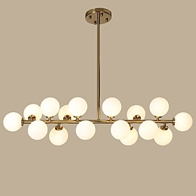 cheap Globe Design-16 Bulbs 100 cm Designers Chandelier Metal Glass Gold Modern Contemporary 110-120V / 220-240V