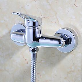 preiswerte Meist Verkaufte-Duscharmaturen - Moderne / Modern Chrom Nur Dusche Keramisches Ventil / Messing / Einzigen Handgriff Zwei Löcher
