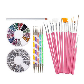 cheap Nail Salon-nail-art-decorations-tools-set-with-white-wax-rhinestones-picker-pencil-15-pink-brushes