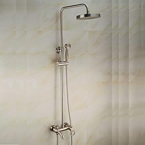 preiswerte Duscharmaturen-Duscharmaturen - Antike Gebürsteter Nickel Mittellage Keramisches Ventil Bath Shower Mixer Taps / Messing / Einzigen Handgriff Zwei Löcher