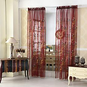 preiswerte Fensterdekoration-transparente Vorhänge schattieren die Wohnzimmerblatt-Polyesterstickerei mit zwei Platten