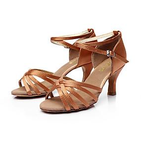 preiswerte Top Shoes & Bags For You-Damen Tanzschuhe PU Leder / Satin Schuhe für den lateinamerikanischen Tanz / Salsa Tanzschuhe Schnalle Sandalen Maßgefertigter Absatz Maßfertigung Silber / Braun / Gold / EU40