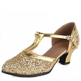 preiswerte Top Shoes & Bags-Damen Tanzschuhe Paillette Schuhe für den lateinamerikanischen Tanz / Schuhe für modern Dance Schnalle Sandalen Niedriger Heel Keine Maßfertigung möglich Golden / Silber / EU39