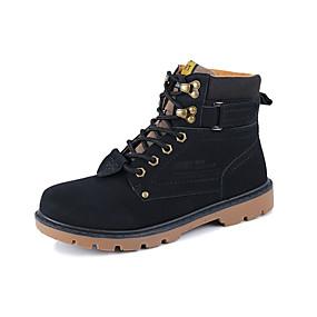 preiswerte Herrenschuhe-Herrn Komfort Schuhe Leder Frühling Britisch Stiefel Wandern Rutschfest Booties / Stiefeletten Schwarz / Braun / Gelb / Schnürsenkel / Springerstiefel / EU40
