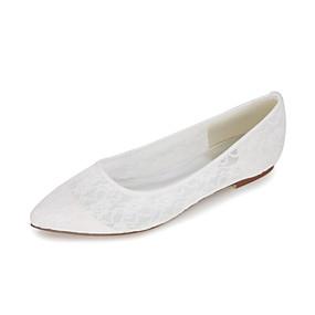 voordelige Damesschoenen met platte hak-Dames Platte schoenen Platte hak Gepuntte Teen Kant Basispump Lente / Zomer Blauw / Roze / Kristal / Bruiloft / Feesten & Uitgaan