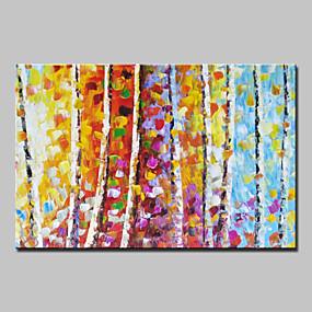 povoljno Slike za cvjetnim/biljnim motivima-Hang oslikana uljanim bojama Ručno oslikana - Sažetak Pejzaž Cvjetni / Botanički Moderna With Frame