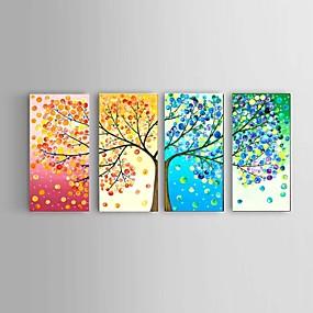 povoljno Slike za cvjetnim/biljnim motivima-Hang oslikana uljanim bojama Ručno oslikana - Sažetak Pejzaž Mrtva priroda Moderna With Frame / Četiri plohe