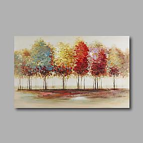 voordelige Schilderijen van landschappen-Hang-geschilderd olieverfschilderij Handgeschilderde - Abstract Landschap Modern Inclusief Inner Frame / Uitgerekt canvas