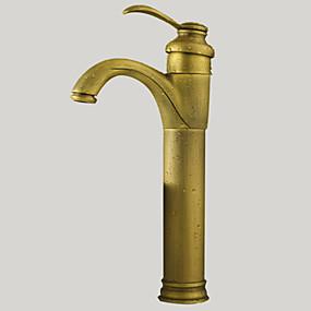 povoljno Slavine-Kupaonica Sudoper pipa - Okretljive slavine Antique Brass Nadgradni umivaonik One Hole / Jedan Ručka jedna rupaBath Taps