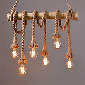 povoljno Lámpatestek-6 glava 80 cm vintage konoplje uže s bambusovim privjeskom svjetla potkrovlje kreativni dnevni boravak restoran trgovina odjećom svjetiljka