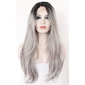 preiswerte OUO®-Synthetische Lace Front Perücken Natürlich gewellt Lose gewellt Mittelteil Spitzenfront Perücke Lang Grau Synthetische Haare Damen Gefärbte Haarspitzen (Ombré Hair) Dunkler Haaransatz Natürlicher
