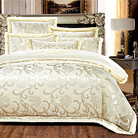cheap High Quality Duvet Covers-Duvet Cover Sets 4 Piece Silk Luxury Beige Embroidery Luxury / 500 / 4pcs (1 Duvet Cover, 1 Flat Sheet, 2 Shams)