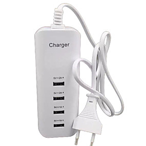 cheap Phone Cables & Chargers-Home Charger USB Charger EU Plug Multi Ports 4 USB Ports 2 A / 1 A for