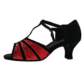 cheap Shoes & Bags-Women's Dance Shoes Sparkling Glitter / Paillette / Synthetic Latin Shoes Sequin / Appliques / Sparkling Glitter Sandal / Heel / Sneaker Cuban Heel Non Customizable Red / Silver / Gold / Indoor