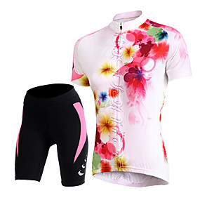 cheap Women-TASDAN Women's Short Sleeve Cycling Jersey with Shorts Floral Botanical Bike Shorts Jersey Padded Shorts / Chamois Breathable 3D Pad Quick Dry Reflective Strips Back Pocket Sports Floral Botanical