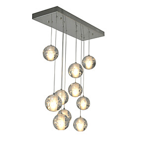 povoljno Viseća rasvjeta-10-Light Klastera Privjesak Svjetla Ambient Light Chrome Metal Crystal 90-240V Bulb Included / G4