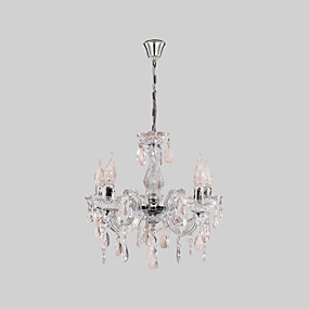 cheap Ceiling Lights & Fans-5-Light 45 cm Candle Style Chandelier Acrylic Candle-style Chrome Traditional / Classic 110-120V / 220-240V