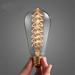 preiswerte Versandfertig in 24 Stunden-1pc 40 W E26 / E27 ST64 Warmes Weiß 2300 k Retro / Abblendbar / Weihnachtsbäume Glühbirne Vintage Edison Glühbirne 220-240 V