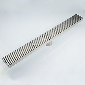 cheap Drains-23.6-Inch Linear Shower Drain with Removable Quadrato Pattern Grate,Professional Brushed 304 Stainless Steel Rectangle Shower Floor Drain Manufacturer,With Leveling Feet,Hair Strainer
