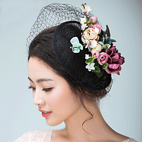 cheap Wedding & Party Jewelry-Flax / Satin Fascinators / Hats / Headwear with Floral 1pc Wedding / Special Occasion / Tea Party Headpiece