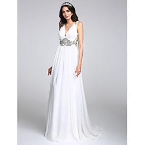 preiswerte elegant wedding dress0420-A-Linie V-Ausschnitt Pinsel Schleppe Chiffon Maßgeschneiderte Brautkleider mit Kristall / Drapiert durch LAN TING BRIDE®