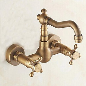 cheap Kitchen Faucets-Kitchen faucet - Two Holes Antique Brass Bar / ­Prep Wall Mounted Traditional Kitchen Taps / Two Handles Two Holes