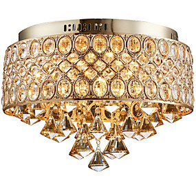 povoljno Lámpatestek-4-Light Flush Mount Ambient Light Golden Metal Crystal, dizajneri 110-120V / 220-240V Bulb not included / E12 / E14