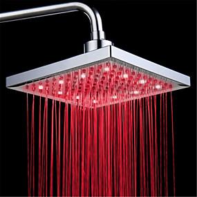 baratos Torneiras-LED tricolor cor luminosa spray de cabeça de chuveiro com temperatura / 9 polegada de reforço de água spray de topo (abs chapeamento)