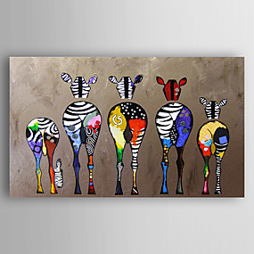 cheap Abstract Paintings-Oil Painting Handmade Hand Painted Wall Art Home Decoration Décor Living Room Bedroom Animal Colorful Zebra Stretched Ready To Hang With Stretched Frame or Rolled Without Frame