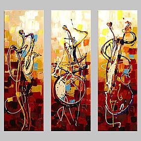abordables Cuadros Abstractos-Pintura al óleo pintada a colgar Pintada a mano - Abstracto Clásico Tradicional Pintura Sóla / Tres Paneles