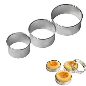 preiswerte Plätzchen-Werkzeuge-3pcs Kreisschneider Cookies Form Ei Ring Stack Prep Edelstahl