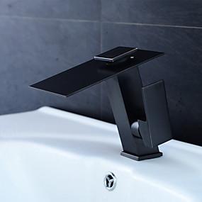 povoljno Slavine / Tuš sustav / Kuhinjska slavina-slavina za umivaonik za kupaonicu - vodopad / voden metalik crni središnji set jednostruka ručica i slavine / mesing