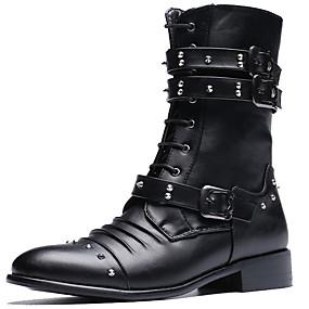 voordelige Wijdere maten schoenen-Heren Legerlaarzen Synthetisch Herfst / Winter Laarzen Zwart / Feesten & Uitgaan / Blok hiel / Siernagel / Feesten & Uitgaan
