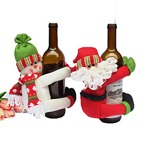 cheap Christmas Decorations-1pc Santa Wine Bags, Holiday Decorations Party Garden Wedding Decoration 16*5*5 cm